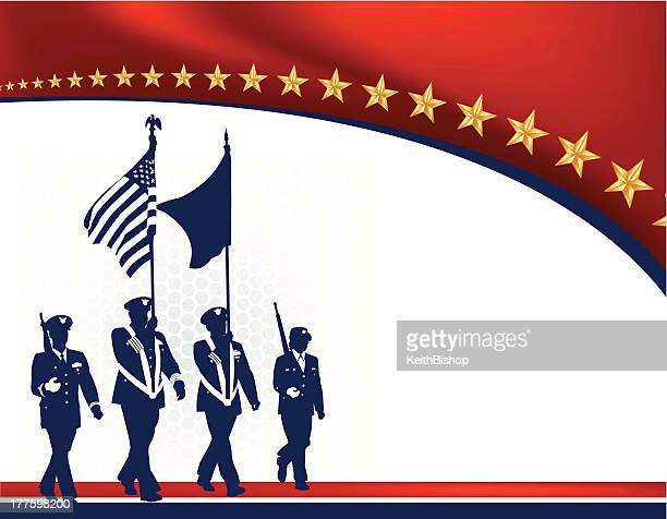 military parade soldiers with american flag - armed forces - military parade stock illustrations
