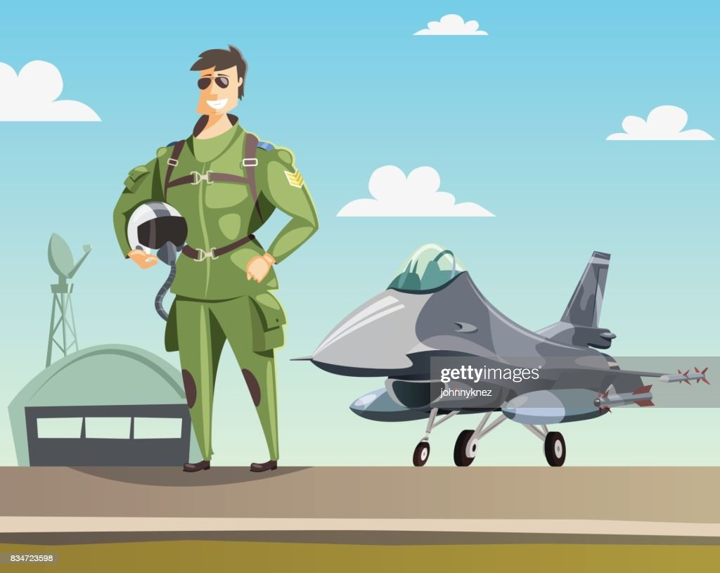 Military pilot and jet fighter on runway