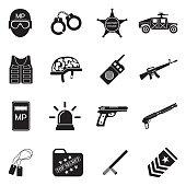 Military Police Icons. Black Flat Design. Vector Illustration.