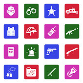 Military Police Icons. White Flat Design In Square. Vector Illustration.