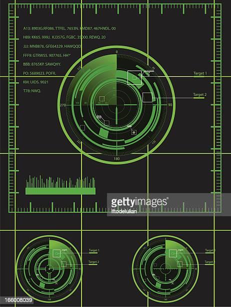ilustrações de stock, clip art, desenhos animados e ícones de militar conjunto de radar - objetivo militar