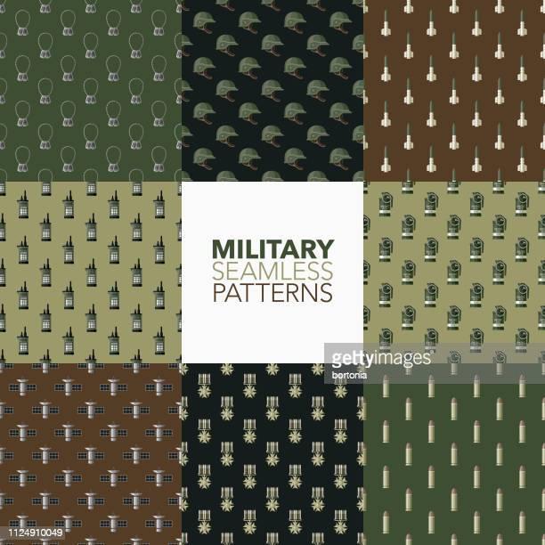 military seamless patterns - us military stock illustrations, clip art, cartoons, & icons