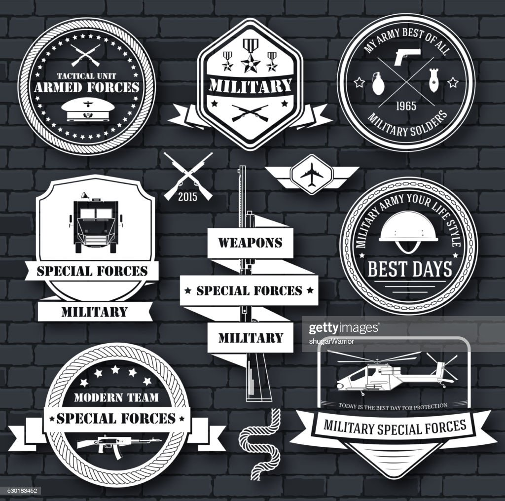 military set label template of emblem element for your product