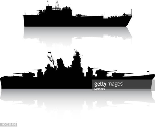 military ships - warship stock illustrations