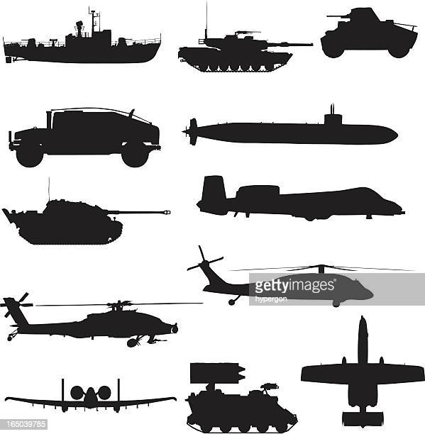 military silhouette collection (vector+jpg) - military stock illustrations, clip art, cartoons, & icons