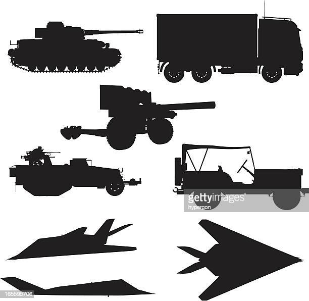 military silhouette collection - tank stock illustrations, clip art, cartoons, & icons