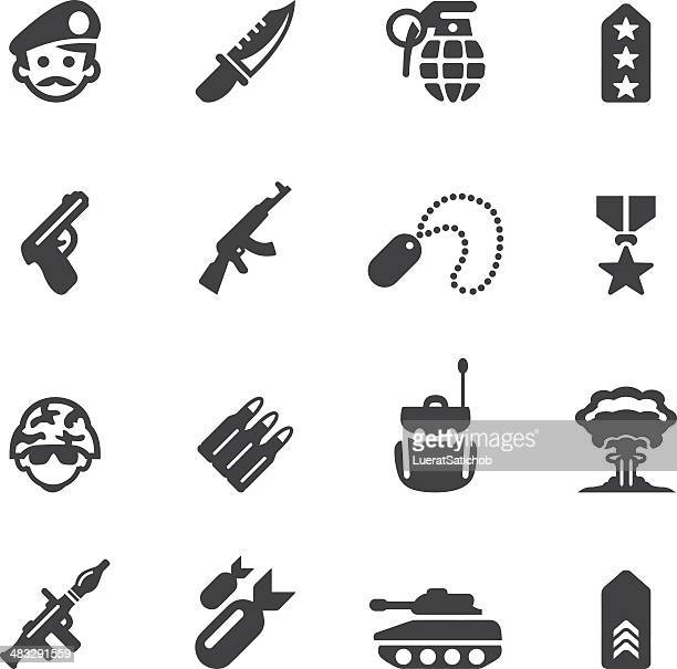 military silhouette icons 1 - special forces stock illustrations, clip art, cartoons, & icons