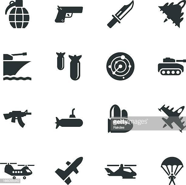 militär-silhouette icons - bombenanschlag stock-grafiken, -clipart, -cartoons und -symbole