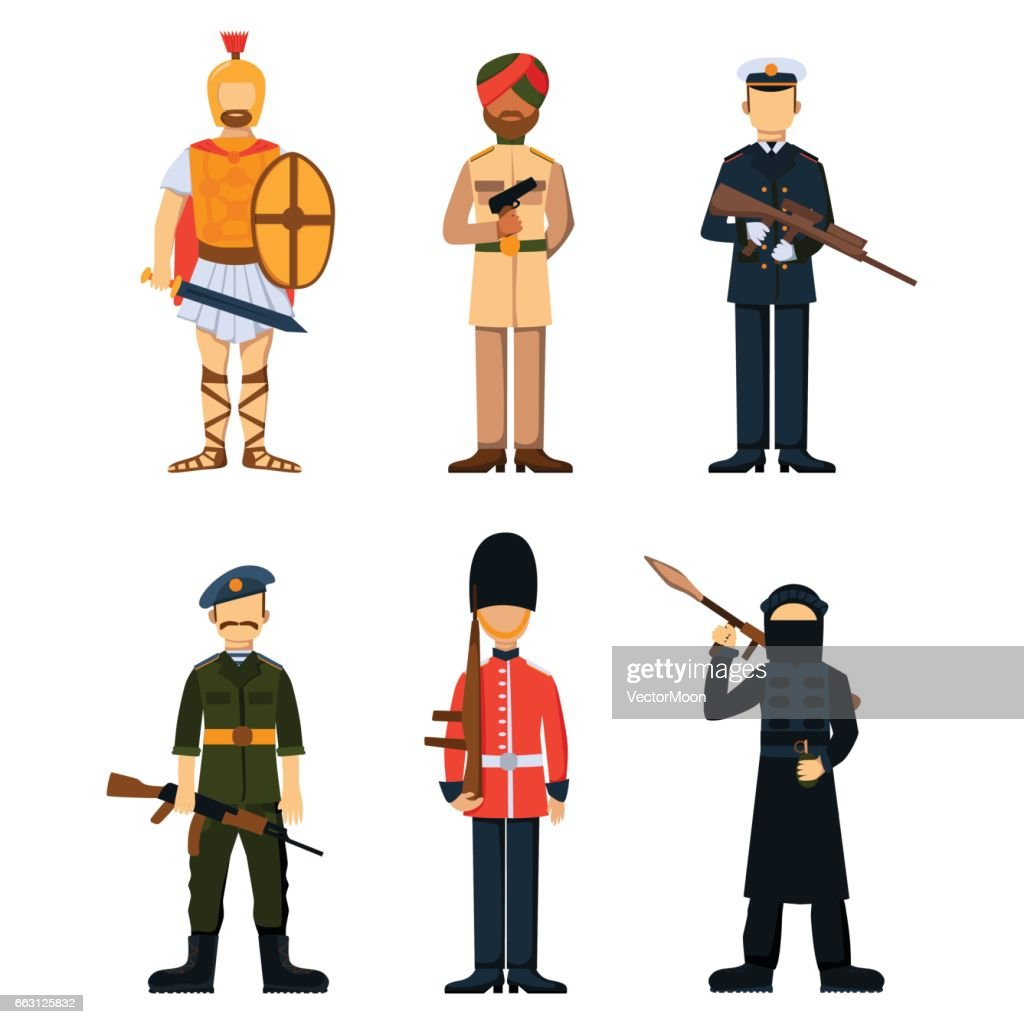 Military Soldier Character Weapon Symbols Armor Man Silhouette