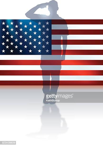 us military soldier or boy scout flag background - veterans day stock illustrations, clip art, cartoons, & icons