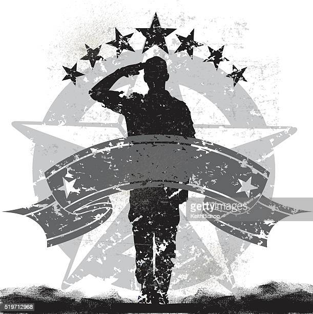 us military soldier or boy scout saluting background - military stock illustrations, clip art, cartoons, & icons