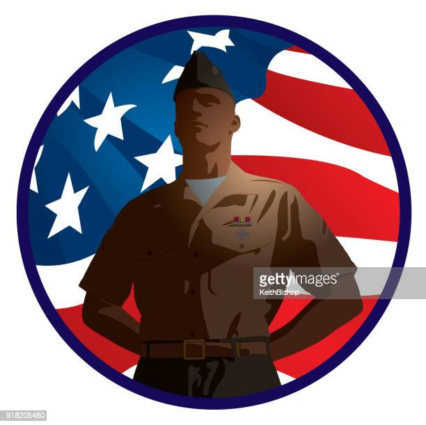 us military soldier with american flag background - marines military stock illustrations, clip art, cartoons, & icons