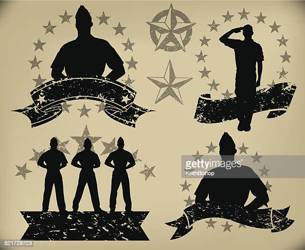 us military soldiers - standing at attention, salute banners - military personnel stock illustrations, clip art, cartoons, & icons
