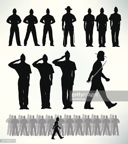 us military soldiers - standing at attention, salute - military personnel stock illustrations, clip art, cartoons, & icons