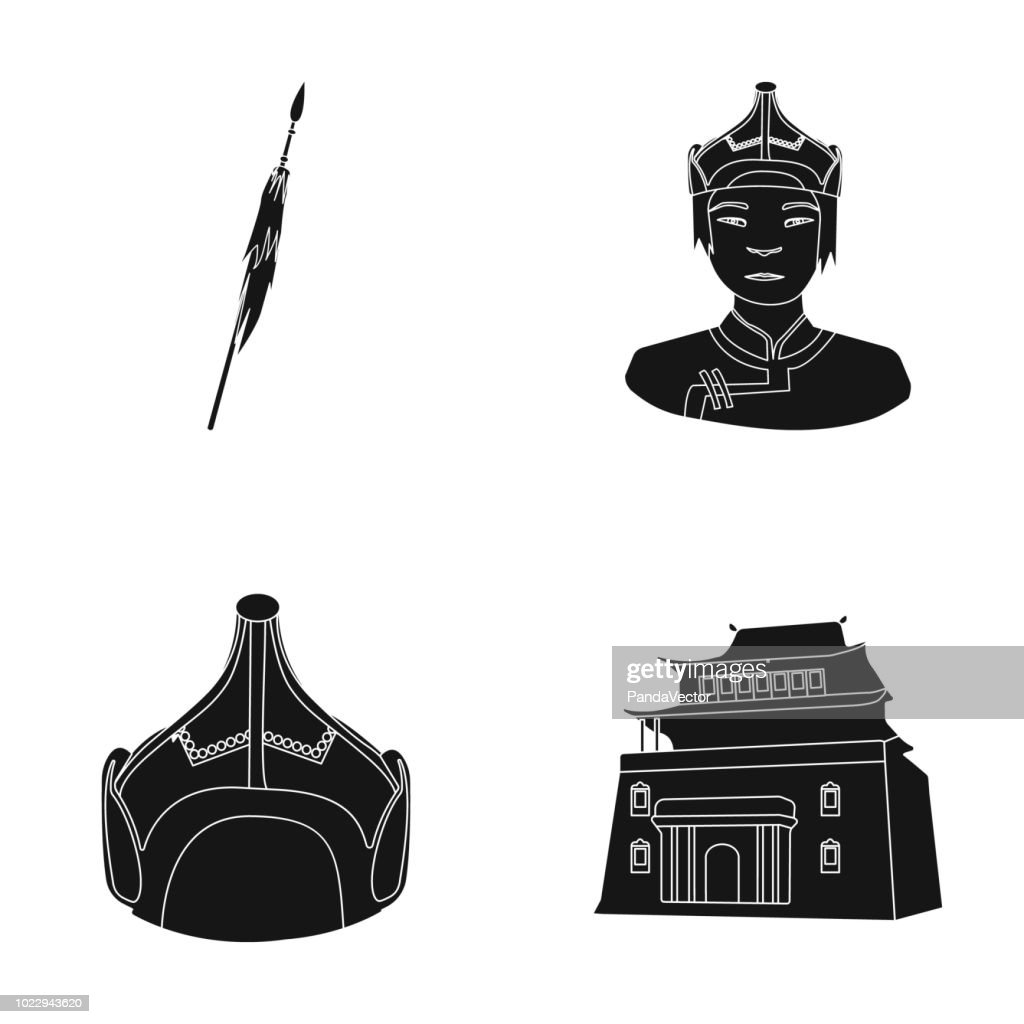 Military spear, Mongolian warrior, helmet, building.Mongolia set collection icons in black style vector symbol stock illustration web.