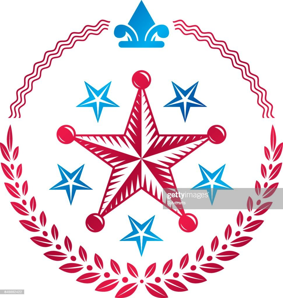 Military Star emblem decorated with royal lily flower and laurel wreath. Heraldic vector design element, 5 stars guaranty insignia.  Retro style label, heraldry.