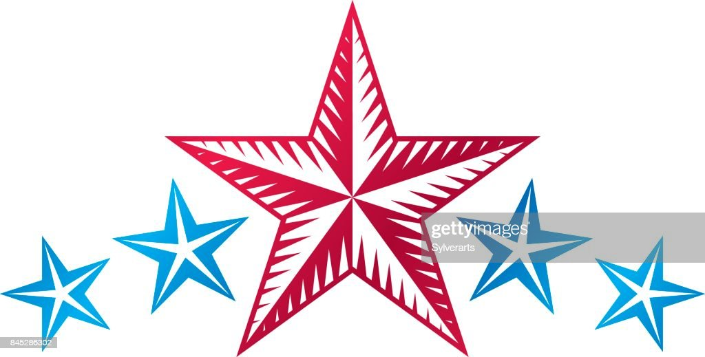 Military Star emblem. Heraldic vector design element, 5 stars guaranty insignia.  Retro style label, heraldry.