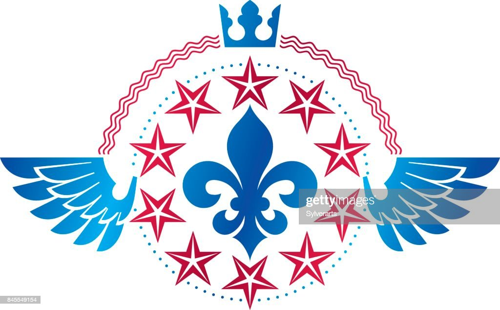 Military Star emblem, winged victory award symbol created using imperial crown.  Heraldic Coat of Arms decorative icon isolated vector illustration.