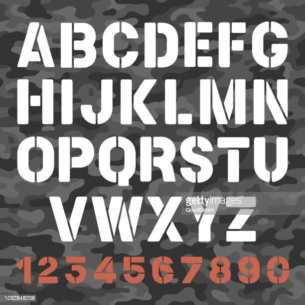 military stencil font - stencil stock illustrations