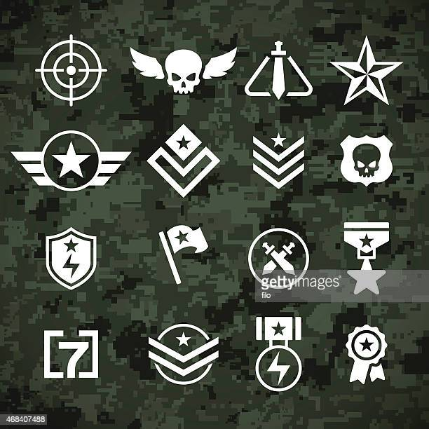 military symbols and camoflage pattern - military personnel stock illustrations, clip art, cartoons, & icons