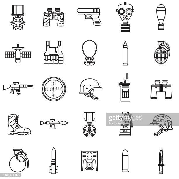 military thin line icon set - handgun stock illustrations