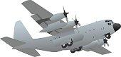 Military Transport Cargo Aircraft Illustration
