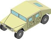 Military truck isometric on white