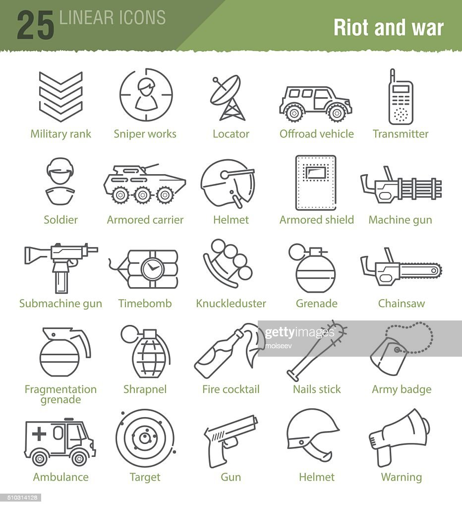 military vector icons set
