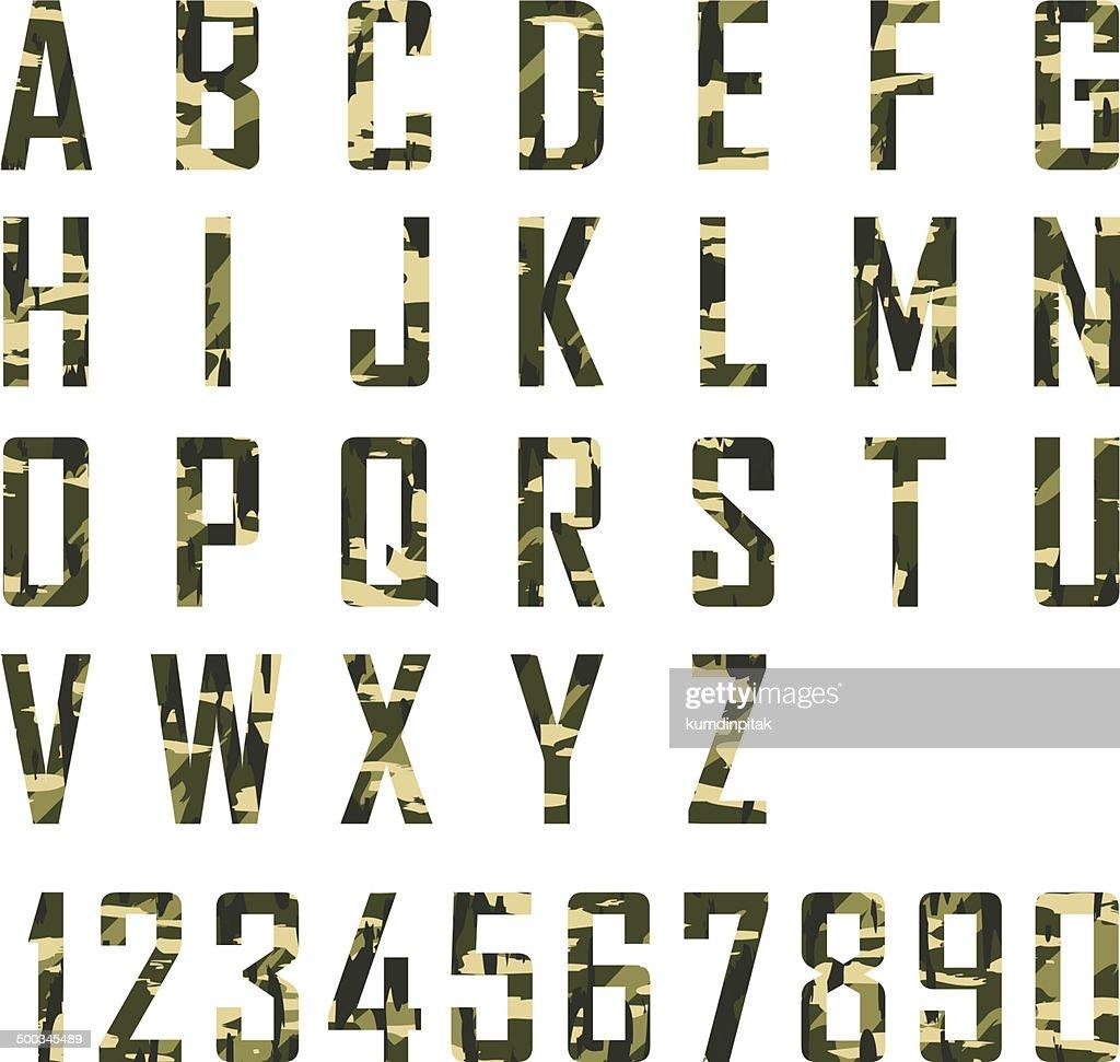 Military Vintage Alphabet. vector Illustration EPS10
