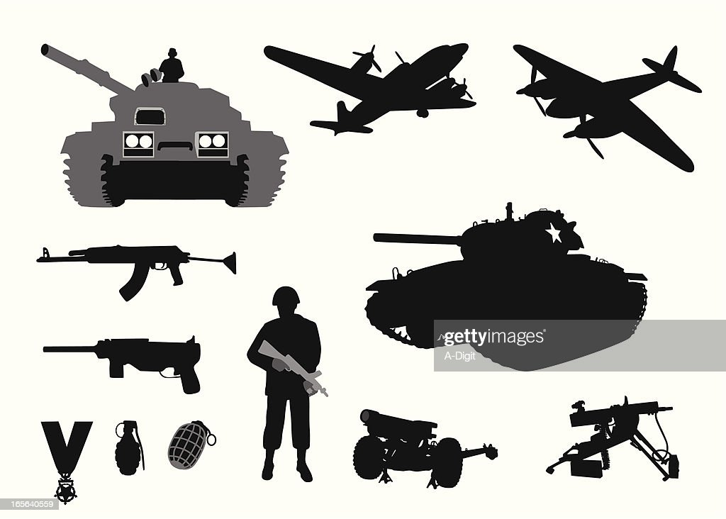 Military WWII Vector Silhouette : stock illustration