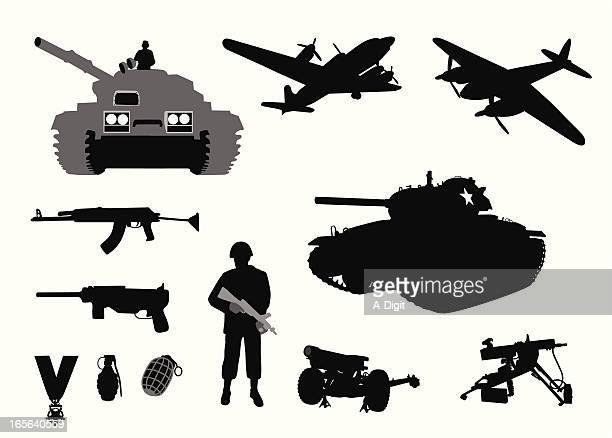 military wwii vector silhouette - artillery stock illustrations