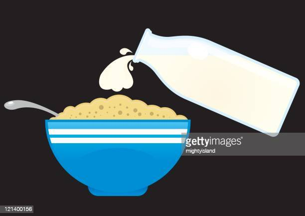 milk and cereal - breakfast cereal stock illustrations, clip art, cartoons, & icons