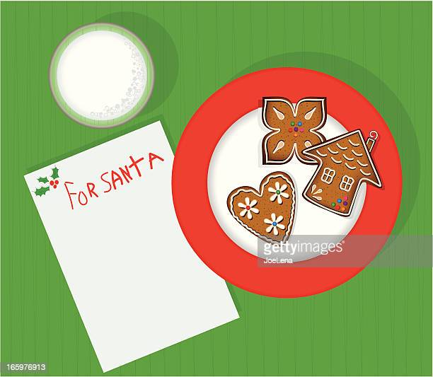 milk and cookies for santa - cookie stock illustrations, clip art, cartoons, & icons