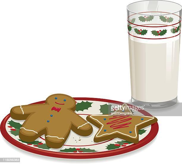 ミルクとクッキーをサンタ