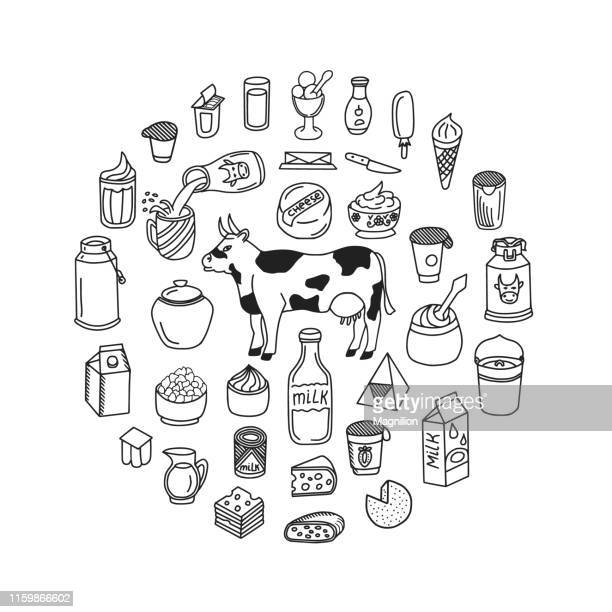 milk and dairy products doodle set - cream dairy product stock illustrations