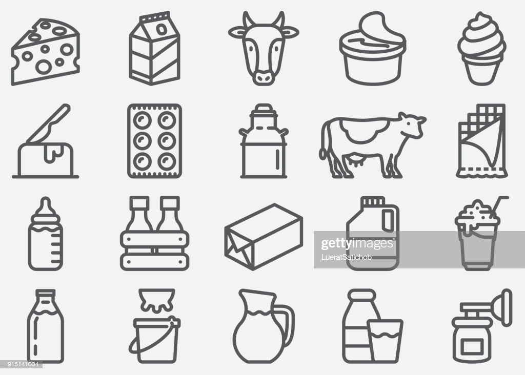 Milk and Dairy Products Line Icons