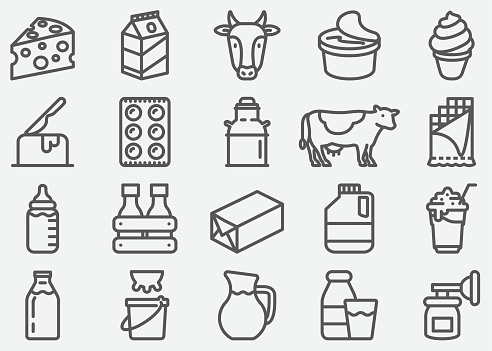Milk and Dairy Products Line Icons - gettyimageskorea