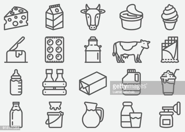 milk and dairy products line icons - cow stock illustrations