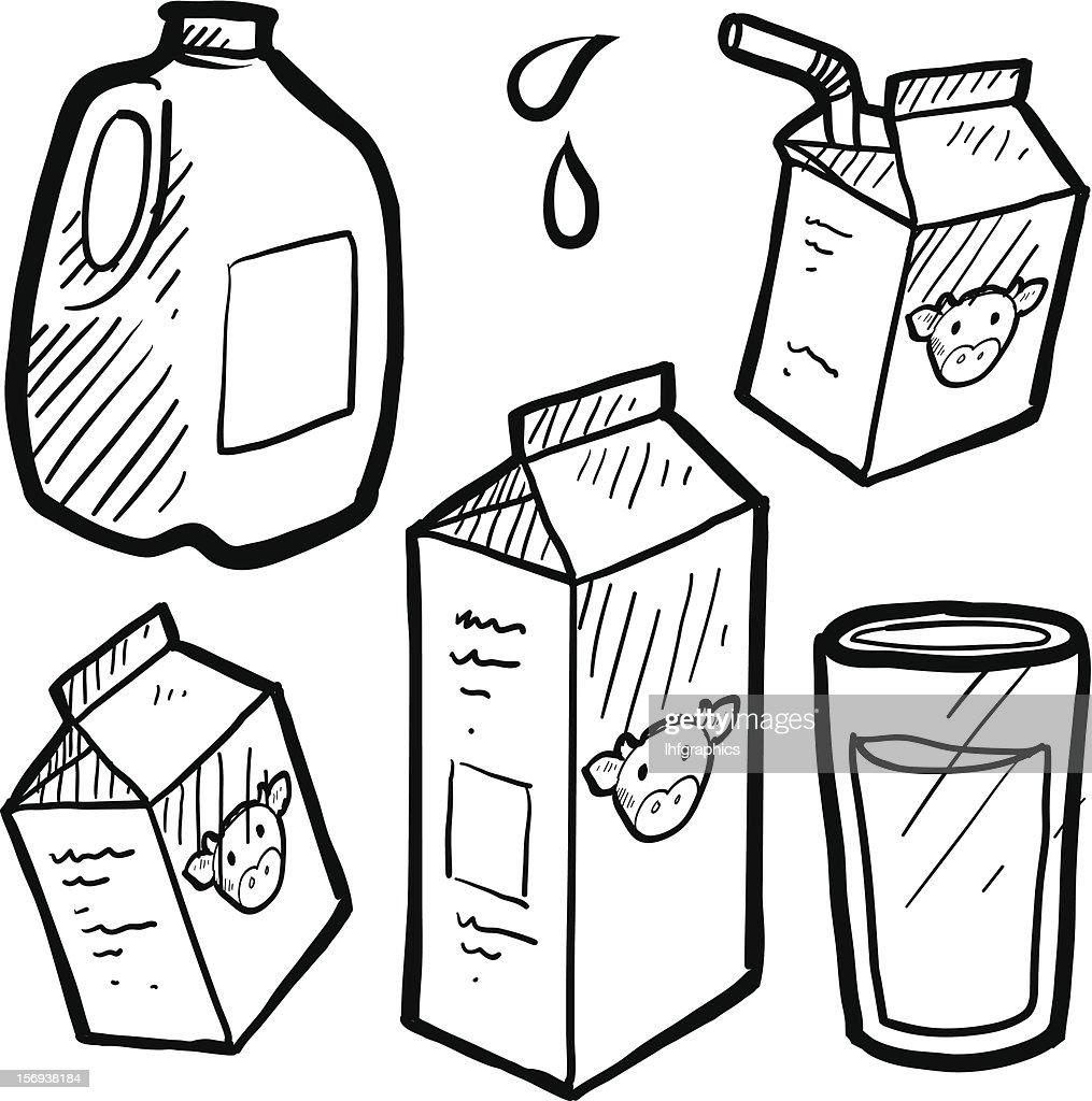 Milk and juice cartons sketch