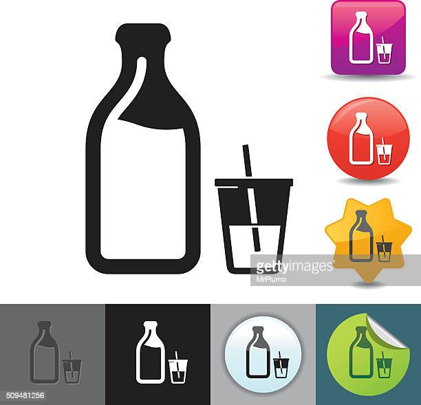 milk bottle icon | solicosi series - milk bottle stock illustrations