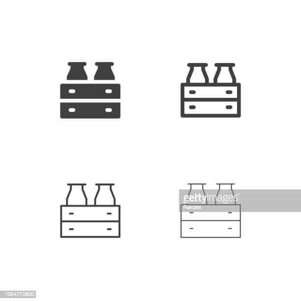Milk Bottle in Wooden Crate Icons - Multi Series