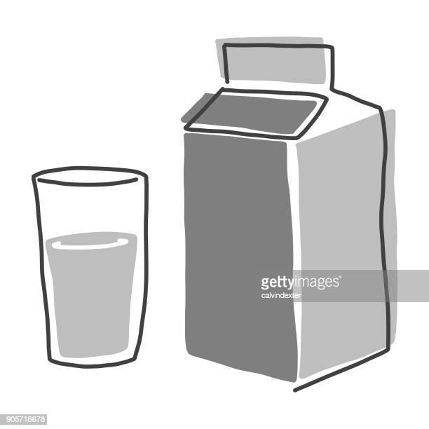 milk carton and glass - coconut milk stock illustrations, clip art, cartoons, & icons