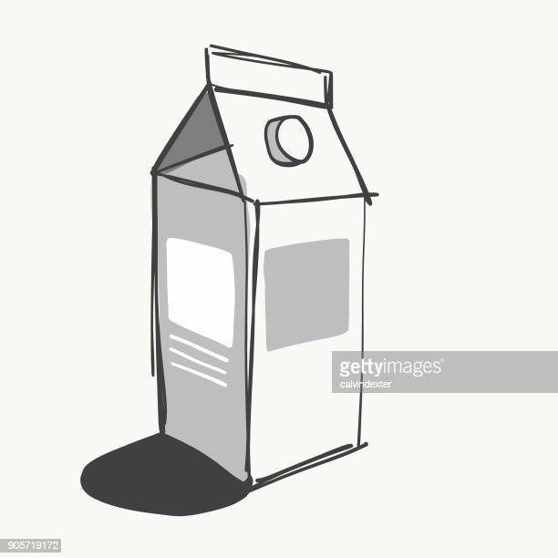 milk carton - coconut milk stock illustrations, clip art, cartoons, & icons
