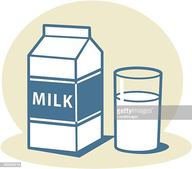 Milk carton with glass of milk