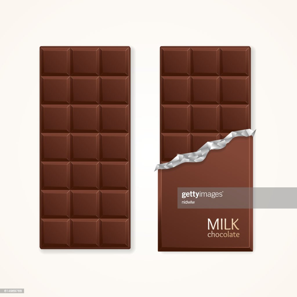 Milk Chocolate Package Bar Blank. Vector