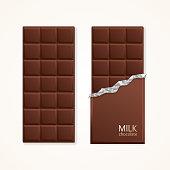 Milk Chocolate Package Bar Blank. Vector