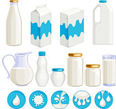 Milk dairy products icons set.