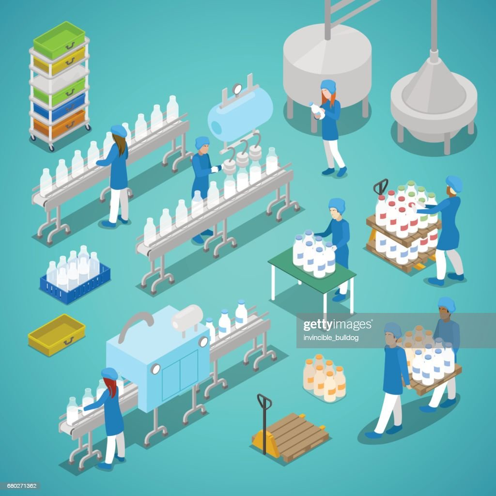 Milk Factory Automated Production Isometric