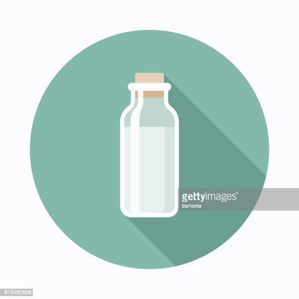 ilustraciones, imágenes clip art, dibujos animados e iconos de stock de leche diseño plano café & té icono - botella de leche