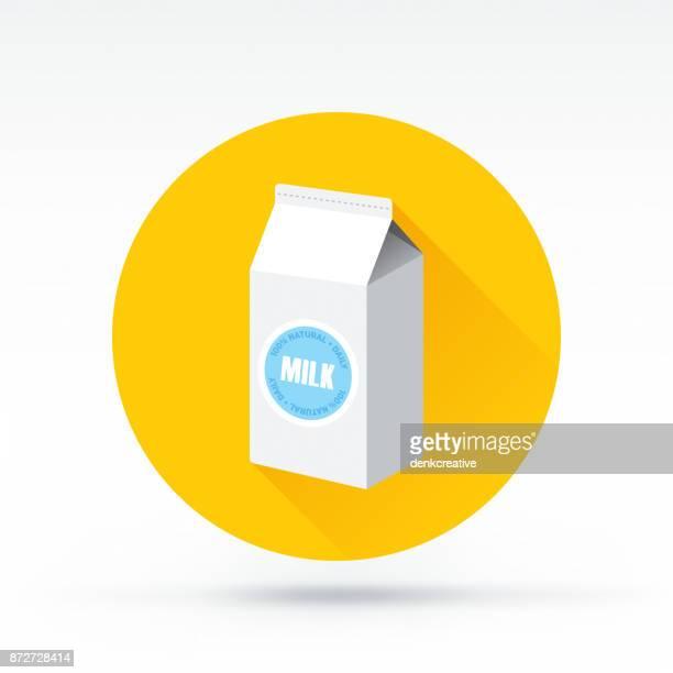 ilustrações, clipart, desenhos animados e ícones de ícone de leite - embalagem cartonada
